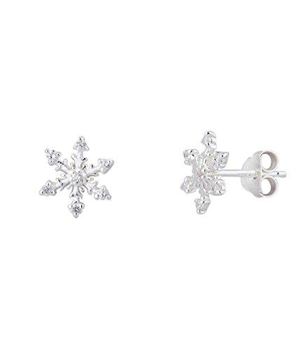 SIX 925er Silber- süßer Damen Ohrring mit silberner Schneeflocke mit weißen Glitzer Steinen, Ohrstecker, earring, Winter, Stern (435-735)