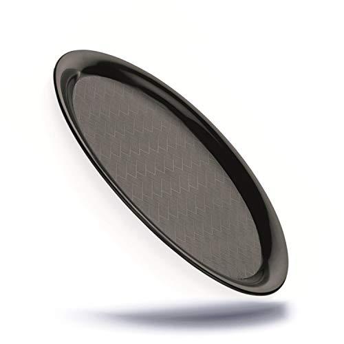 Kerafactum Oval Serviertablett Servierplatte Tablett aus Kunststoff matt schwarz mit geriffeltem Boden klein zum servieren Spülmaschinenfest - service tray