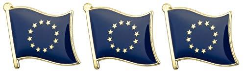 Tanto Badges 3 x EU-Abzeichen EU-Flagge Metall-Pin-Abzeichen