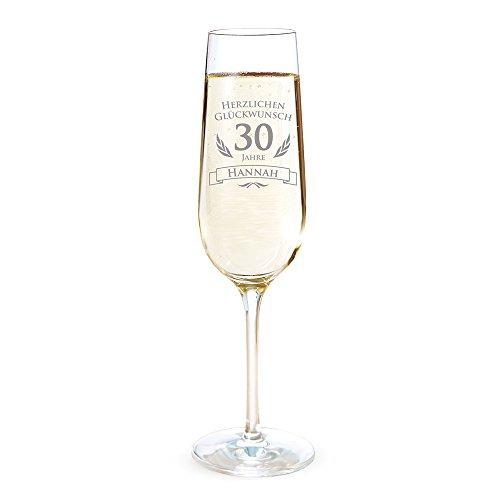 AMAVEL ? Sektglas mit Gravur ? Sektkelch zum 30. Geburtstag ? Personalisiert mit Namen ? Geburtstagsgeschenk ? Geschenkidee für Frauen und Männer