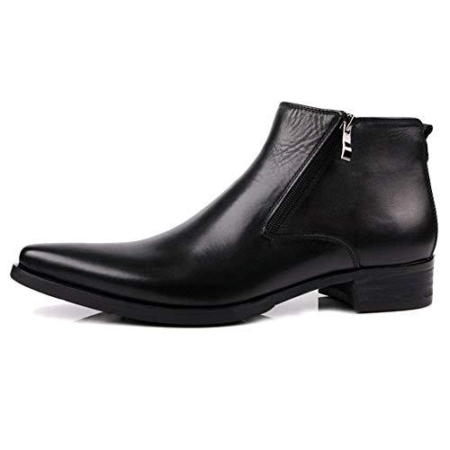 MERRYHE Hombres De Moda Lado Botines con Cremallera Botines Chelsea De Cuero Genuino Formales Zapatos De Vestir Botas Cortas para La Fiesta De Negocios Trabajo Boda,Black-39