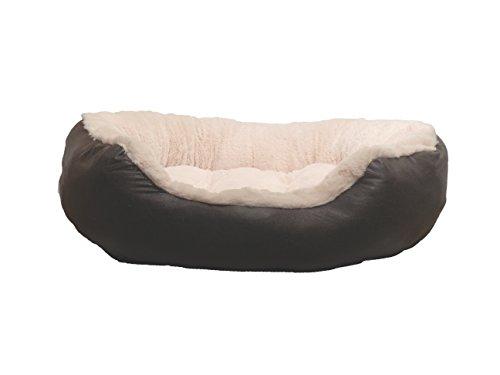 Rosewood 04412 Luxus-Hundebett Large aus kuschelig weichem Pelz, mit rutschfester Unterseite, Maschinenwäsche, 75cm, braun/cremeweiß