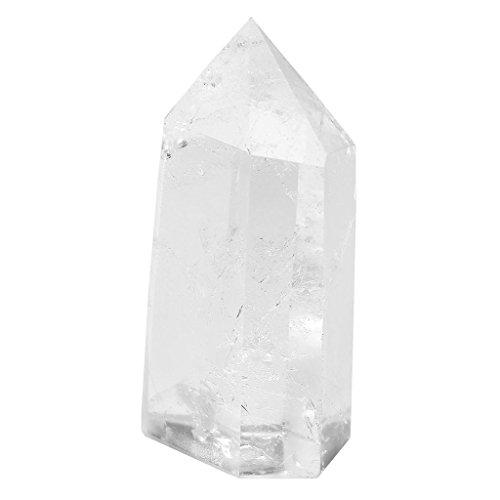 CrystalTears Quartz Cristal de Roche Pointue Prisme Pierre Blanc Clair Figurine Baguette en Pierre Colonne Guérison Energie(Taille 50-55mm)