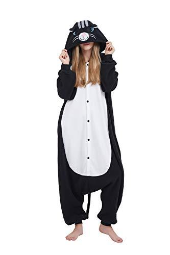 m Tierkostüm Tier Schlafanzug Katze Pyjamas Jumpsuit Kigurumi Damen Herren Erwachsene Cosplay Tier Fasching Karneval Halloween (Schwarz Katze, M:Höhe 160-169cm) ()