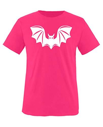 Comedy Shirts - Halloween Fledermaus - Mädchen T-Shirt - Pink/Weiss Gr. 110-116