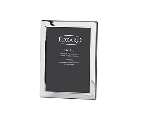 EDZARD Fotorahmen Salerno, edel versilbert, anlaufgeschützt, für Foto 13 x 18 cm