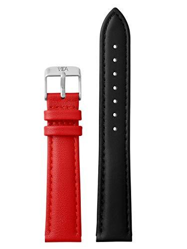 laVIIDA Uhrband LB-SVI2020S Ersatzband Uhrband Leder 18 mm Schwarz-Rot-Silber