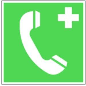 """0213. Notruftelefon, E007 - Folie """"NOTTELEFON"""" - 150x150mm"""