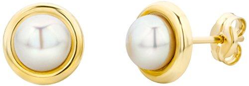 Miore Damen Ohrstecker 14 Karat - Dezente Perlen-Ohrringe aus 585 Gelbgold mit weißer Süßwasserzuchtperle - Perlenschmuck gold-weiß Ø 7 mm