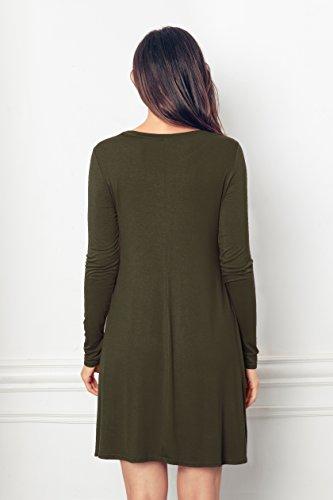 EasyMy Damen Kleid Tunika Casual T-Shirt Schulterfrei Cold-shoulder Gr¨¹N
