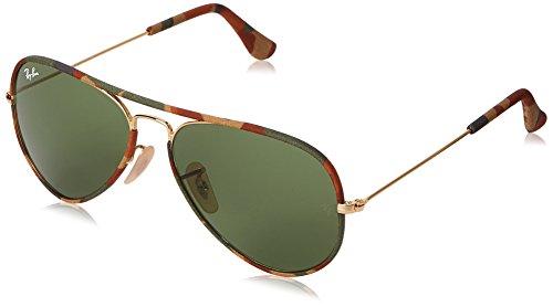 Ray-Ban Unisex Aviator Sonnenbrille, Mehrfarbig (Gestell: gold/bunt,Gläser: grün Klassisch 168/4E), Large (Herstellergröße: 55)