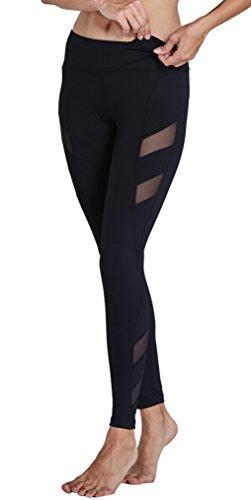 KomPrexx Sport Leggings Damen Mesh Fitness Yoga Training Gym Tights Lang Trainings Workout Sporttights (17K-Black,M) (Mesh-karte)