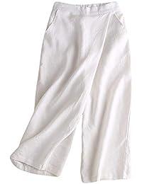 16fa9ddd6459 Insun Femme Pantalon en Lin Léger Pantalons 7 8 Longue Pantalon Casual  Pantalon Taille Haute