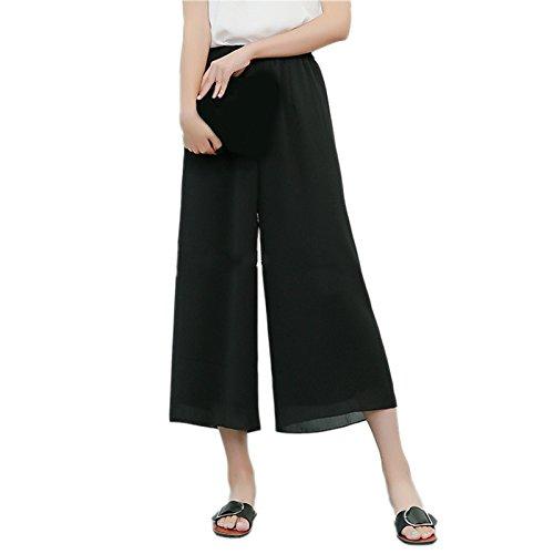 Damen Weites Bein Hose Elastische Taille Lange Culottes Leicht Weich-Gefühl Sommer Hosenrock Cropped Pants