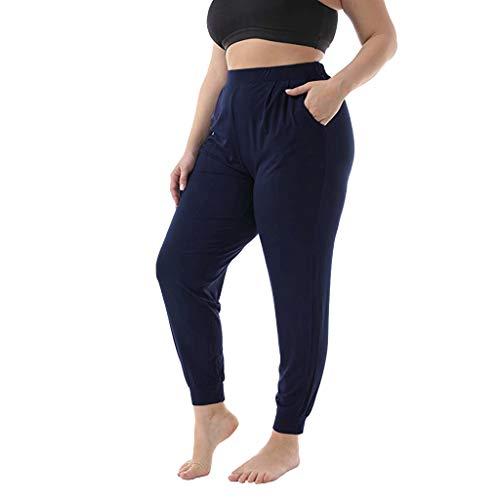MMOOVV Hosen Damen High Waist Grosse Grössen Elegant lässige Tasche Stretch Bundle einfarbig Langen Absatz lässige Hosen Jogginghose (Marine 5XL) Plaid Cropped Pants