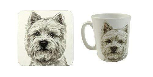 2 PCE Set Waggy Dogz Westie West Highland Terrier Hund Welpe Hergestellt in UK China Becher Kanne & Untersetzer -