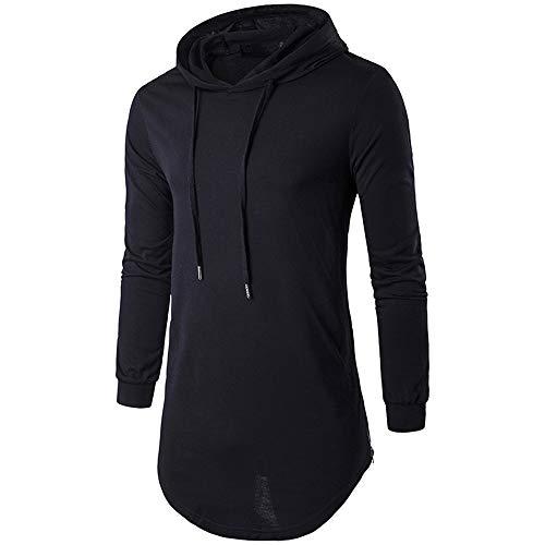 Discount Boutique Langärmliges, einfarbiges Herren-Sweatshirt mit Kapuze und großem T-Shirt aus Baumwolle im Frühjahr und Herbst