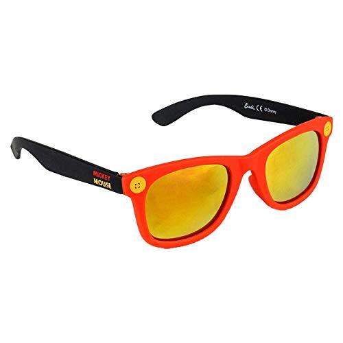 Mickey Mouse Jungensonnenbrille Premium Micky Maus Disney | 3+ Jahre | Glas Gelbe Farbe und 100% UV400-Schutz | Leichtes Material | Rot und Schwarz