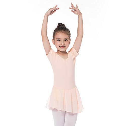 Kinder Kurzarm Ballettkleid aus Baumwolle mit Chiffon Kleider Ballett Trikot Turnanzug für Mädchen Rosa 110