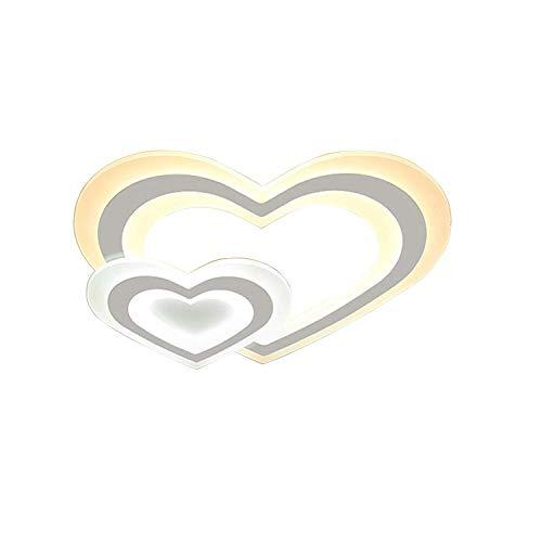LED Einfach Deckenlampe Modern Acryl Metall Deckenleuchte Herz Kombination Design Decken Beleuchtung Dimmbar mit Fernbedienung für Schlafzimmer Kinderzimmer Ø52×H30CM 3000K~6500K 48W
