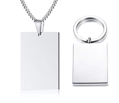Vnox Grabado Libre Personalizado de Acero Inoxidable Cuadrado en Blanco Etiqueta de Perro Colgante Collar Llavero Llavero para Hombres Mujeres