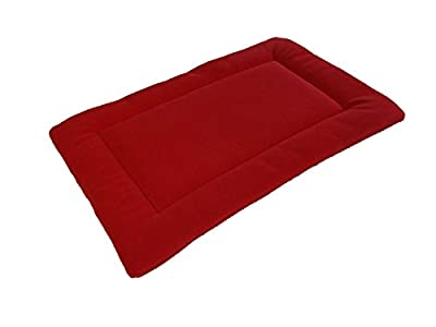 PnH® Red Polar Fleece Quilted Dog Pad, Cage/Crate Mat - Large - 76cm x 122cm