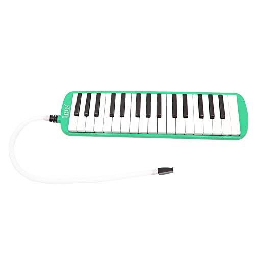 Melodica 32 Tastiere Elegante Portatile a Bocca Soffiato per Bambini Adulti + Boccaglio + Tubo Morbido Flessibile, Colore: verde
