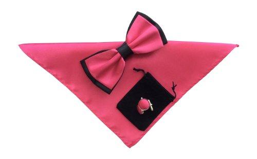 Sock Snob - Hommes nœud papillon mouchoir de poche et boutons de manchette fixés (hot pink noir 22)