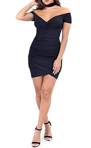 CuteRose Women's Sexy Classics Leisure Business V Neck Short Mini Dress S Black Jovani Cocktail