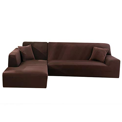 LITTLEGRASS Sofabezug Sofaüberwürfe für L-Form Elastische Stretch 2er Set für 3 Sitzer(190-230cm) + 4 Sitzer 230-330cm Braun