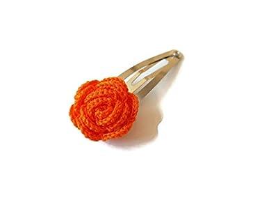 Pince à cheveux orange rose fait main crochet cheveux accessoires cadeau pour sa nature fleur