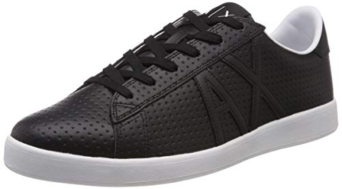 Armani Exchange Herren Action Leather lace up Sneaker, Schwarz Black K001, 42 EU