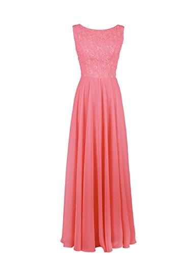 Dresstells, robe de cérémonie, robe longue de demoiselle d'honneur Corail