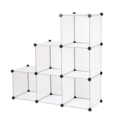 Edaygo Estantería por módulos|Armario almacenaje|Organizador Multifuncional 110 x 74 x 37 cm, Transparente...