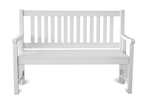 Ambientehome Bank, Faltbare Finnland Massivholz Gartenbank 120 cm, weiß, 128x56x91 cm, 90797
