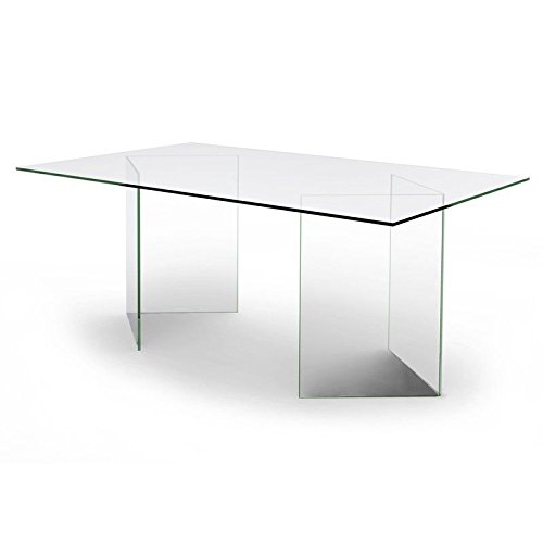 designement Olivia Table/Bureau Verre, Transparent, 180 x 100 x 75 cm