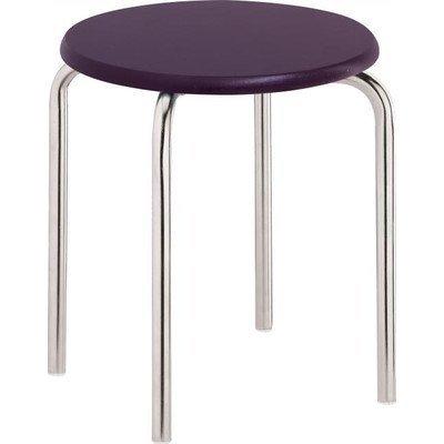 SANWOOD Badhocker mit lila MDF-Sitzfläche, Sitzhocker Stahl verchromt Edelstahl-Optik, Chrom, 33.0 x 33.0 x 42.5 cm