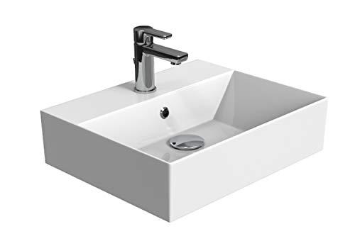 Aqua Bagno | Design Waschbecken | Aufsatzbecken | Aufsatz-Waschtisch | Dünner Rand | Wandmontage Möglich | hochwertige Keramik | Weiß | KS.50 | 50 x 42 cm
