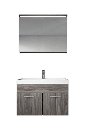 Breite A/v-schrank (Badezimmer Badmöbel Set Paso 02 80 cm Waschbecken Bodega (Grau) - Unterschrank Schrank Waschbecken Spiegelschrank Schrank)