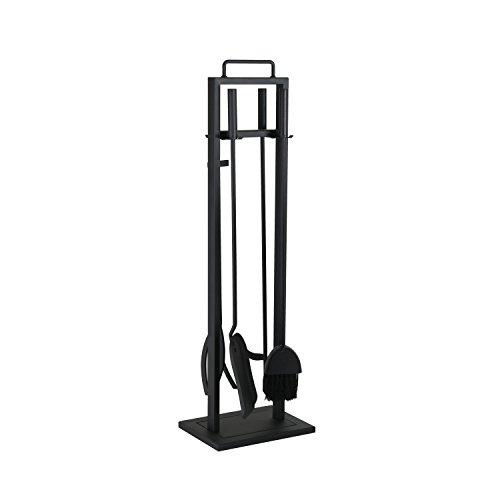 *Kaminbesteck 4-teilig schwarz aus Eisen ca. 78 cm hoch – Kamingarnitur mit Ständer + Tragegriff inkl. Schaufel, Schürhaken, Holzzange + Besen*