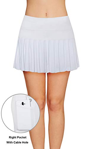 Damen Tennisrock Sportrock Laufrock Mädchen mit Innenhose Tasche Innenslip Schnelltrockend Atmungsaktiv Weiß Schwarz Rot