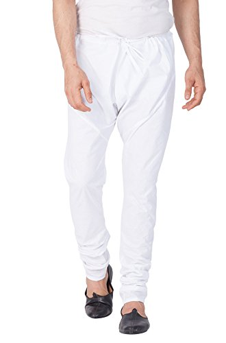 Vastramay Men White Cotton Churidar Pyjama