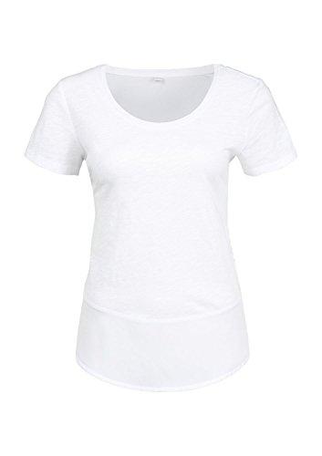s.Oliver Damen T-Shirt 14.503.32.2189, Einfarbig Weiß (white 0100)