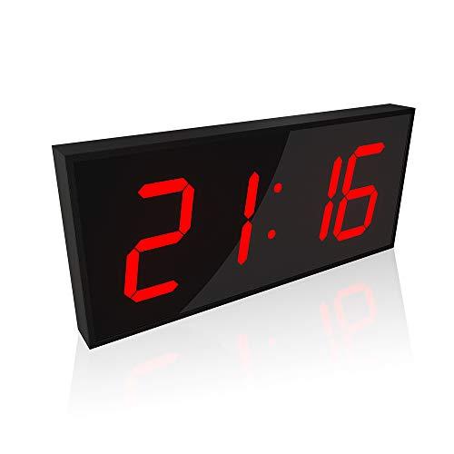 SOULOS Tienda Despertador Digital Pantalla Doble Cara LED, Luz Nocturna Regulable Cocina Hospitales, Librerías Oficina Decoracion Control Remoto Reloj de Pared,B