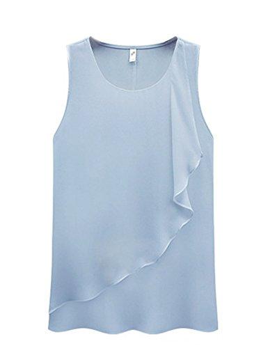 Jueshanzj Femme Chiffon Shirts à volants sans manches col rond gilet Bleu