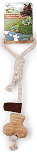 All for Paws Wild & Nature - Handle Wood Bone - Hunde-Zerrspielzeug aus Holz und Baumwollseil - Bone Handle
