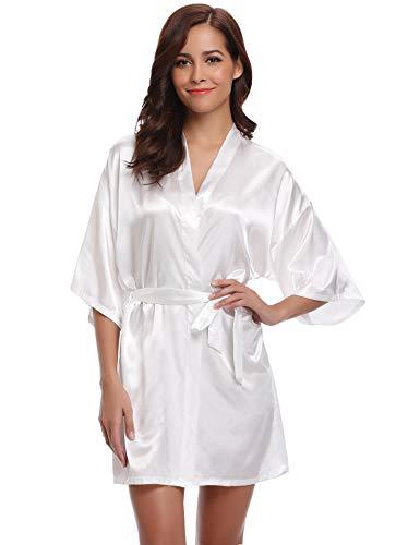 Aibrou Damen Morgenmantel Kimono Satin Kurz Robe Bademantel Nachtwäsche Sleepwear V Ausschnitt mit Gürtel (Large, Weiß-Neu) - Satin Kurze Robe