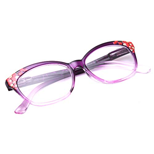 Huicai Lady Lesebrille ultraleichte bequeme blaue Blocking Brille floraler Rahmen Damenbrille