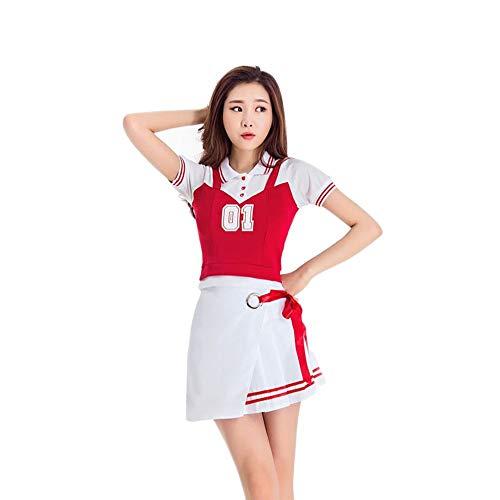 MCO%SISTSR Cheerleader-Kostüm,Mädchen Team Uniform Set Fußball Mini Rock High School Musik Bekleidung Sportwettbewerb Dance ()