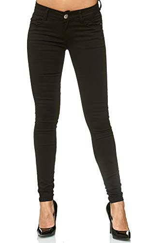 Elara Damen Stretch Hose | Butt Lift Effekt | Skinny Push Up Jeans | Elastischer Bund | Slim Fit | Chunkyrayan Y5154 Black 40 -